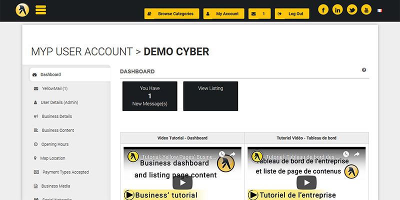 From your Business Account Dashboard you can access YellowMail, update content for and upgrade your listing, and buy add-ons and other services.