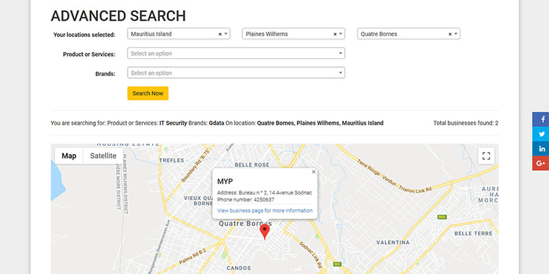 Our Advanced Search option is a great feature that helps your business to be found more easily.