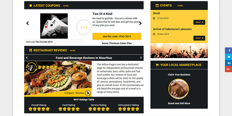 From the Yellow Pages homepage you can find a range of information  and services, including links to local events, restaurant reviews and discount coupons from businesses.